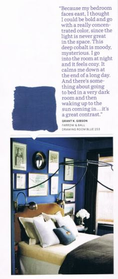 Grant K. Gibson-bedroom- Farrow and Ball Drawing Room Blue- House Beautiful Blue Rooms, Blue Bedroom, Bedroom Office, Blue Walls, Office Den, Blue Marble Wallpaper, Painting Wallpaper, Bedroom Wallpaper, Farrow And Ball Drawing Room Blue