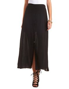 Button-Up Maxi Skirt: Charlotte Russe
