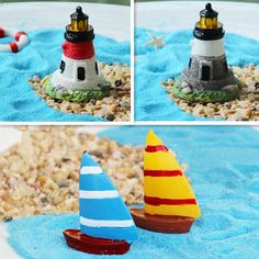 Lighthouse Yacht Sailboat Mini Fairy Garden Micro Pot Bonsai Terrarium DIY Craft