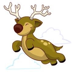 This reindeer exhilaratingly flys through the sky.