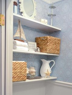 Floating shelves: Plain planks with hidden hardware offer sleek, low-profile display and storage space.   Photo: Courtesy of homestoriesatoz.com