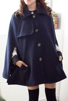 Navy, Cape-style Coat.  dresslily.com