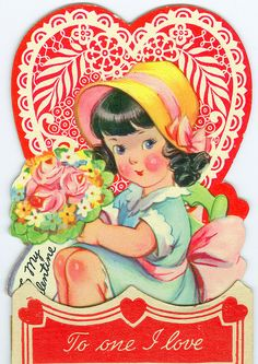1940s Valentines Card * 1500 free paper dolls at Arielle Gabriel's The International Paper Doll Society and The China Adventures of Arielle Gabriel for Chinese and Japanese paper dolls free *