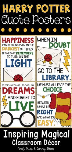 elementary classroom decor Harry Potter Quotes Posters - Decorate your elementary classroom bulletin boards with this printable set of inspirational Harry Potter quote poster Classroom Bulletin Boards, Classroom Decor Themes, Classroom Quotes, Classroom Posters, Reggio Classroom, Classroom Supplies, Classroom Ideas, Harry Potter Classroom, Harry Potter Theme