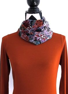 Silk Scarf Autumn Cowl Turtleneck Cowl Fall Purple by SewBirdiful, $19.99