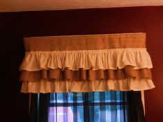 Burlap muslin and burlap valance. Measures 40WX16H.  If you need a different size just let us know. We will be happy to help you.