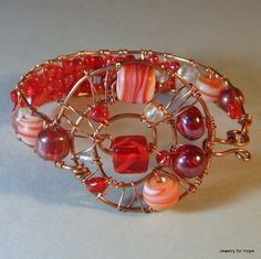 Pure Copper Wire Wrapped Bangle Bracelet with Red Lampwork Beads | craftybabyhope - Jewelry on ArtFire