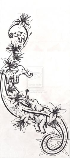 elephant and lily tattoo - Google Search