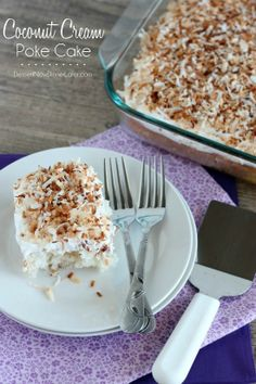 A delicious coconut cream poke cake. Easy to make and so refreshing and delicious!