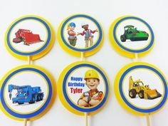 Bob the Builder cupcake toppers  with Scoop, Muck, Lofty, Roley, Wendy and Leo.  Anyone having a Bob The Builder construction birthday party? Follow me on Instagram @PaperHeartsScissors to get 10% off your order!