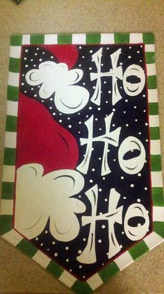 Santa HO HO HO Door Banner by aimdoodles on Etsy, $40.00