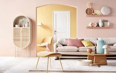 Let's go for some today, shall we? ✨The sun is in the house by - a mix of pastels that create a vibrant and sunny atmosphere 💕styling by and photography by . Pastel Living Room, Nordic Living Room, Colourful Living Room, Living Room Colors, Home Living Room, Living Room Decor, Bedroom Decor, Pastel Home Decor, Yellow Interior
