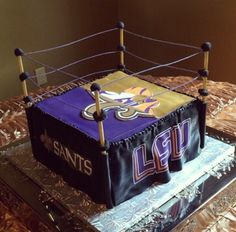 Grooms cake by Icing on the Top, one of our package vendors. LSU, Saints, boxing