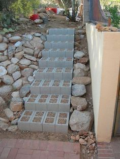 garden stairs steps Fill cinder blocks with a creeping ground cover like thyme which smells so good when walked on. Lawn And Garden, Garden Paths, Garden Landscaping, Home And Garden, Herb Garden, Landscaping Ideas, Inexpensive Landscaping, Walkway Ideas, Succulent Landscaping