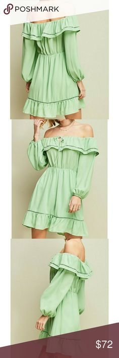 💚COMING SOON!! SAGE GREEN OFF THE SHOULDER DRESS 🤝YOU CAN SHOP WITH CONFIDENCE🤝 ⭐A seller you can trust⭐ GUARANTEED HAPPINESS💅  ❣BRAND NEW ❣BOUTIQUE ITEM ❣OH MY! YOU HAVE TO LOVE THIS COLOR,  IT IS TO DIE FOR!😍 SAGE GREEN OFF THE SHOULDER DRESS FEATURING YOUR FAVORITE SELF TIE CLOSURE AT BUST, RUFFLE AND CUTOUT CROCHET DETAILS AT BUST AND HEM, CINCHED WAIST,  ELASTIC CUFFS, LINED,  NON SHEER, WOVEN 💚  💎Shine bright And Wear What You Love, You Don't Need A Reason - FirstClassBTQ…