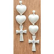 these are so cute!! Montana Silversmiths® Satin Silver Hearts and Cross Earrings