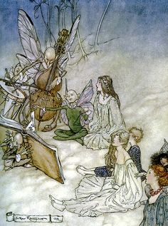 A Midsummer Night Dream, Act II, Scene II (1908). Arthur Rackham (English, 1867-1939). TITANIA, the Fairy Queen, enters with her following of FAIRIES.