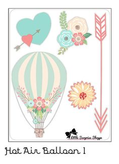 Includes one sheet of glossy die-cut stickers Stickers vary in size Sticker sheet is approximately 4 x These stickers are non-removable Baby Shower Balloons, Birthday Balloons, Stencil, Felt Art, Hot Air Balloon, Planner Stickers, First Birthdays, Birthday Cards, Projects To Try