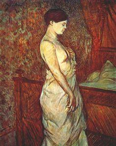 Poupoule in chemise by her bed - Henri de Toulouse-Lautrec