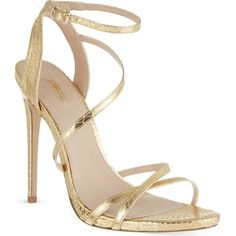 CARVELA Georgia metallic faux snakeskin stilettos ($175) ❤ liked on Polyvore featuring shoes, sandals, heels, high heels, gold, strappy stilettos, high heel stilettos, strap sandals, metallic high heel sandals and snakeskin sandals