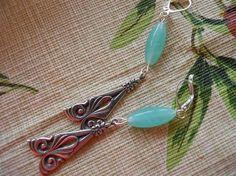 Earrings of Art Deco Dangles and Turquoise Glass by JoJosgems, $15.00