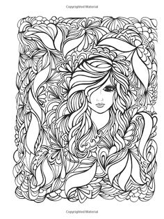 intricate design coloring pages of woman face and flower for grown ...