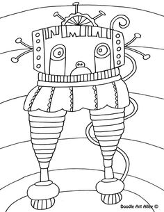 robot coloring pages doodle art alley - Language Arts Coloring Pages