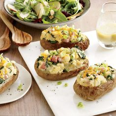 Spinach and Ham Stuffed Potatoes