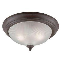 2-Light Sienna Interior Ceiling Flushmount with Frosted Swirl Glass