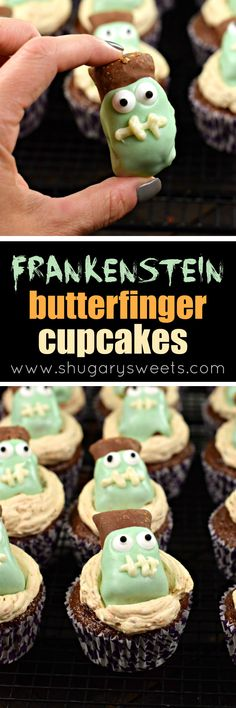 Butterfinger Frankenstein Cupcakes are going to be a big hit at your Halloween party this year! From the rich, chocolate cupcakes, to the sweet Butterfinger frosting, these holiday treats are topped with a fun and festive candy surprise!