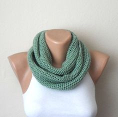 green knit infinity scarf green circle scarf knit winter