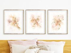 Minimalist Art Print Set, 3 Piece Wall Art Bedroom Wall Decor Over the Bed Art, Pink Brown Abstract Brush Strokes, Simple Artwork for Walls