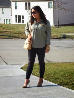 Military Chic - distressed denim, nude pumps, chanel bag, embellised military shirt