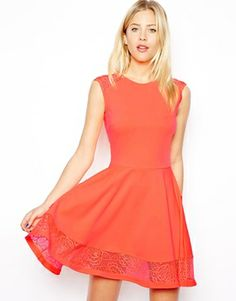 cute lace insert on this skater dress