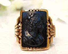 Victorian Right Facing Woman Intaglio Ring by LadyRoseVintageJewel