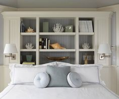 A storage-packed headboard adds a unique touch to this beachy bedroom. See more dreamy bedrooms: http://www.bhg.com/rooms/bedroom/master-bedroom/beautiful-boudoirs/?socsrc=bhgpin030113bulitinheadboard=12