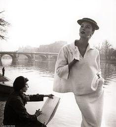 Serene in Seine: Suzy Parker was an American model and actress active from 1947 into the e...
