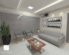 E hoje é dia de postar projeto novo♥ Área de espera para escritório de advocacia com decoração sóbria