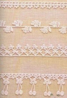 Crochetpedia: Crochet Books Online - A few patterns for border making~ Crochet Books, Crochet Home, Thread Crochet, Crochet Trim, Crochet Stitches, Knit Crochet, Crochet Border Patterns, Japanese Crochet, Crochet Fringe