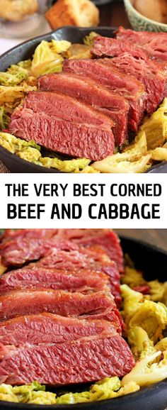 The BEST ever Corned Beef and Cabbage with instructions for both the oven and slow cooker. Perfect results every time. - The ingredients and how to make it please visit the website Eay Dinner Recipes, Winter Dinner Recipes, Yummy Recipes, Dessert Recipes, Lunch Ideas, Dinner Ideas, Corned Beef Brisket, Dinner On A Budget, Corn Beef And Cabbage