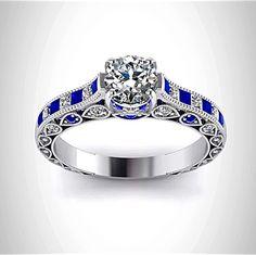 Doctor Who Inspired 4.5CT Sapphire Diamond Engagement Ring  http://www.razosringshop.com/store/p39/Doctor_Who_Inspired_4.5Cts_Sapphire_Diamond_Engagement_Ring.html