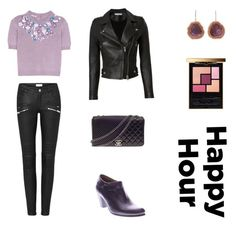 """Leather Happy Hour (contest)"" by scolab ❤ liked on Polyvore featuring Kimberly McDonald, Miu Miu, IRO, Spring Step, Yves Saint Laurent and Chanel"