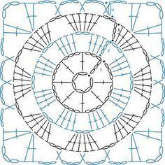 Motifs Granny Square, Granny Square Crochet Pattern, Crochet Diagram, Crochet Chart, Crochet Squares, Crochet Granny, Crochet Motif, Crochet Stitches, Knit Crochet
