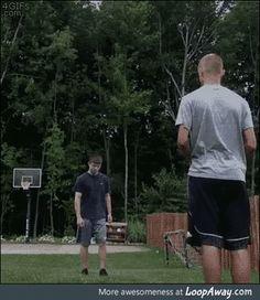 Somersault kick into basketball hoop
