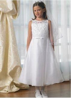 $106.49  White Satin Bateau Sleeveless Embroidery #First #Communion #Dress