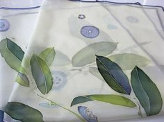 Silk scarf Hand painted Christmas gift Floral pastel by DEsilk,