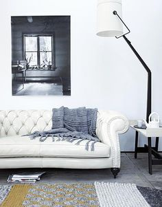 White chesterfield couch