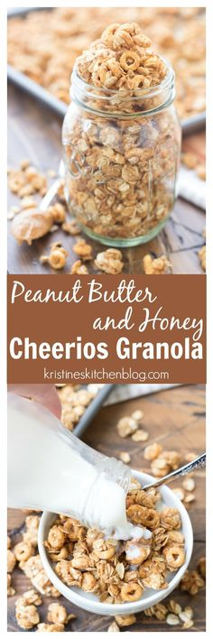 This Peanut Butter and Honey Cheerios™️ Granola is full of big, crunchy clusters! Just 5 ingredients and 10 minutes prep time! This Peanut Butter and Honey Cheerios™️ Granola is full of big, crunchy clusters! Just 5 ingredients and 10 minutes prep time! Breakfast Recipes, Snack Recipes, Cooking Recipes, Breakfast Ideas, Breakfast Bowls, Cheerios Recipes, Breakfast Energy, Second Breakfast, Snacks Ideas