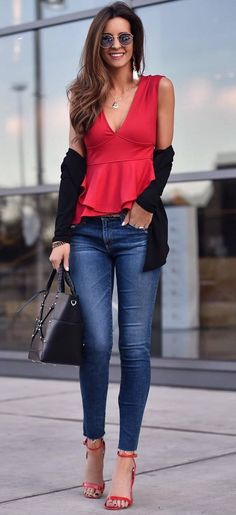 outfit of the day red v neck top   cardi   bag   skinny jeans   heels