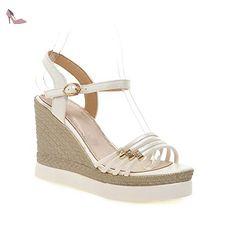 balamasa filles Casual Boucle brevet en cuir Sandales - Blanc - blanc, 38 - Chaussures balamasa (*Partner-Link)